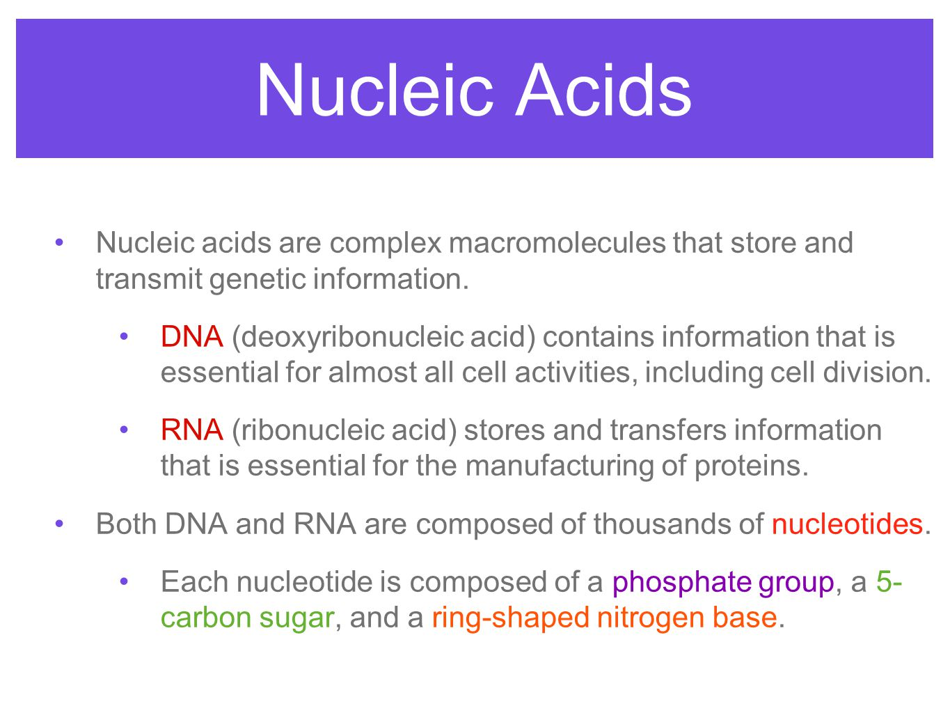 Nucleic Acids Nucleic acids are complex macromolecules that store and transmit genetic information.