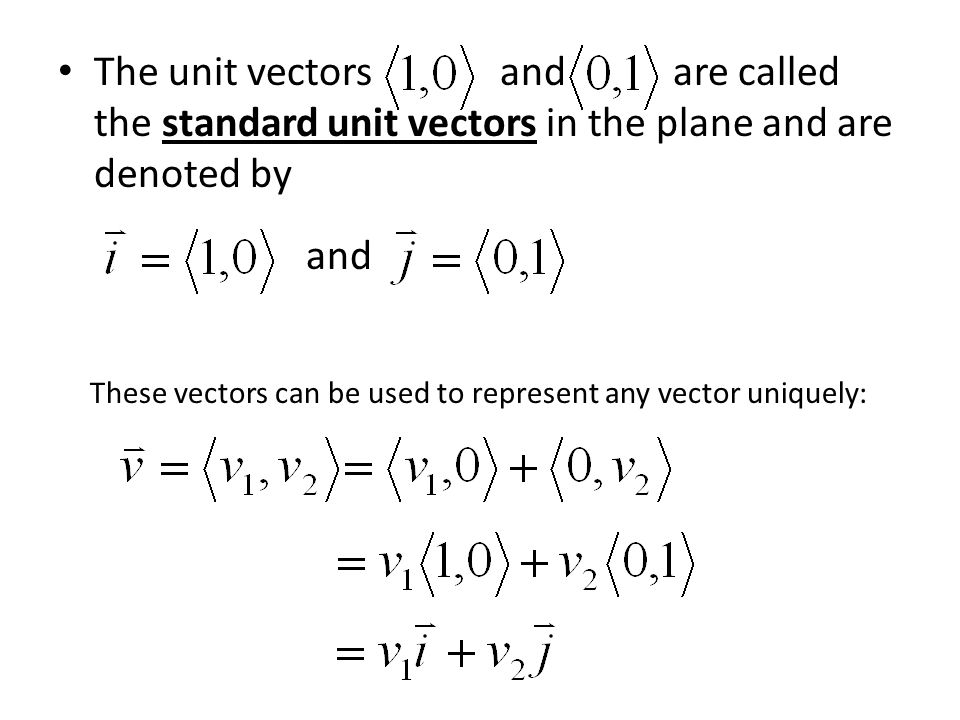 The unit vectors and are called the standard unit vectors in the plane and are denoted by