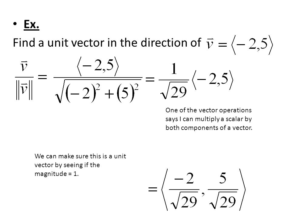 Find a unit vector in the direction of