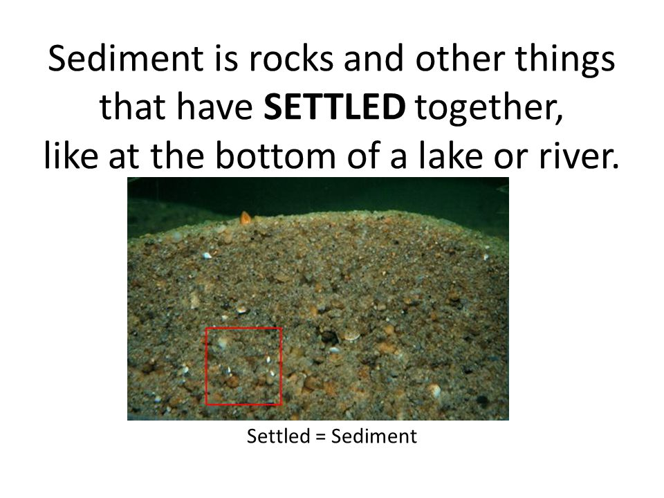 Sediment is rocks and other things that have SETTLED together, like at the bottom of a lake or river.