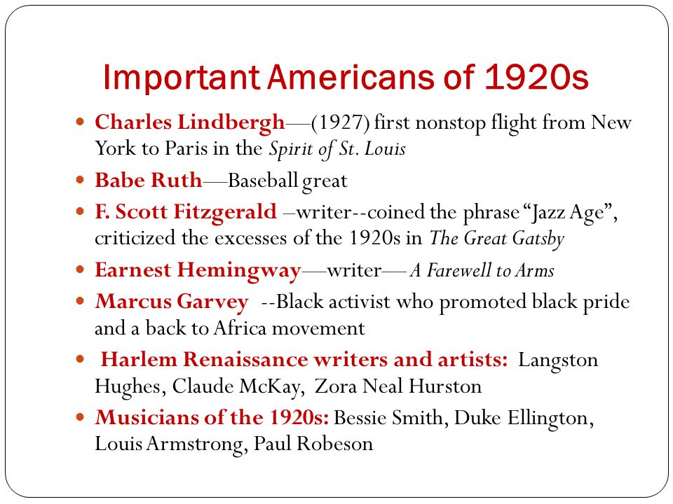 Important Americans of 1920s