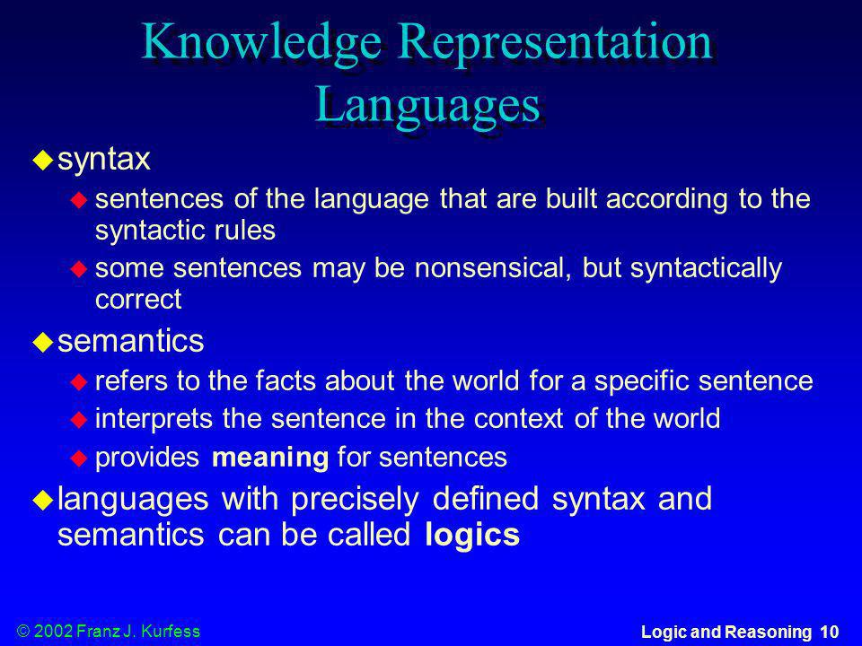 Knowledge Representation Languages
