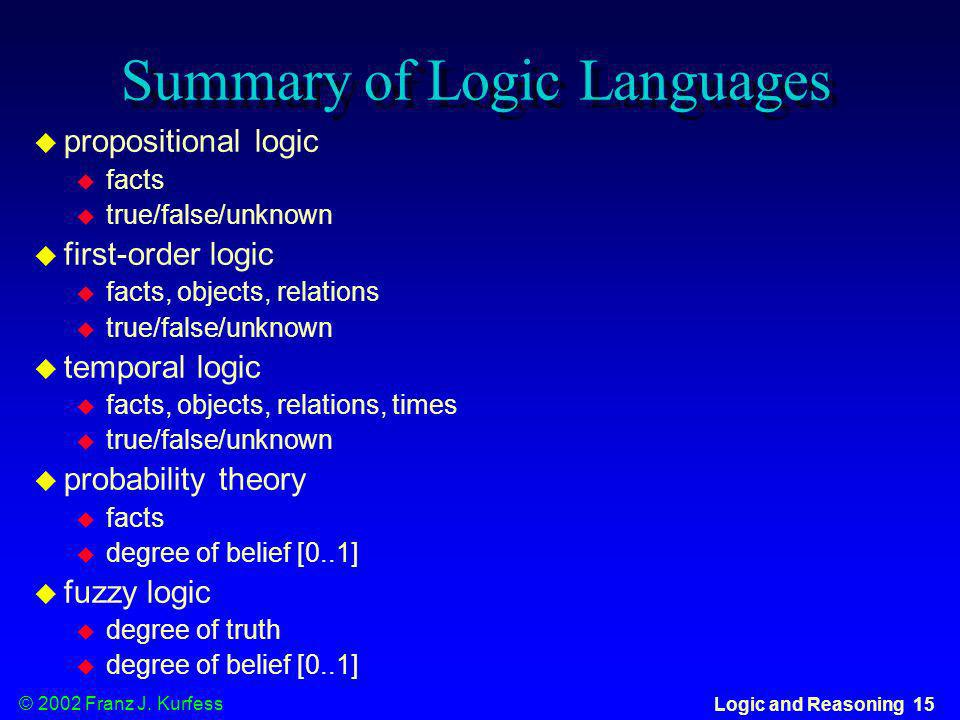 Summary of Logic Languages