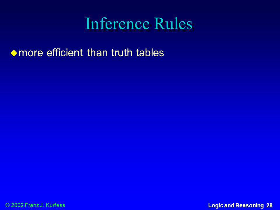 Inference Rules more efficient than truth tables