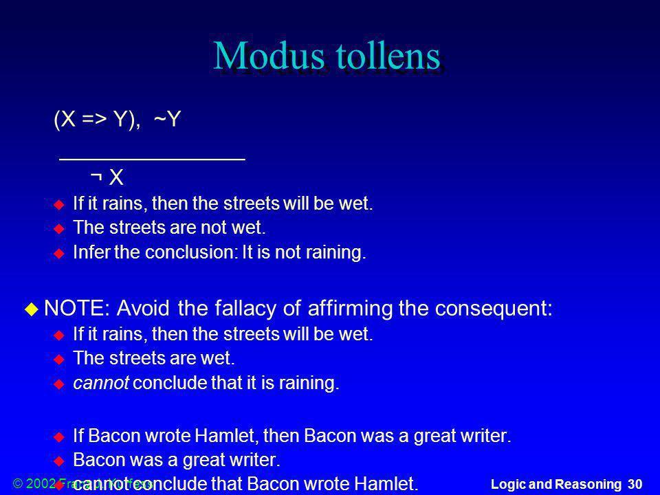 Modus tollens (X => Y), ~Y _______________ ¬ X