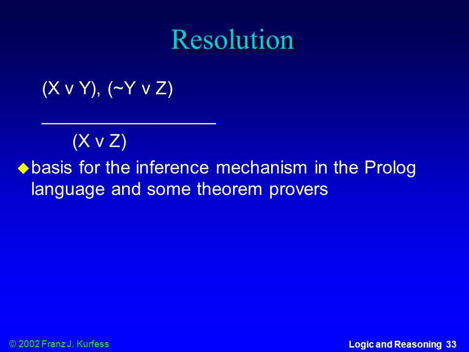 Resolution (X v Y), (~Y v Z) _________________ (X v Z)