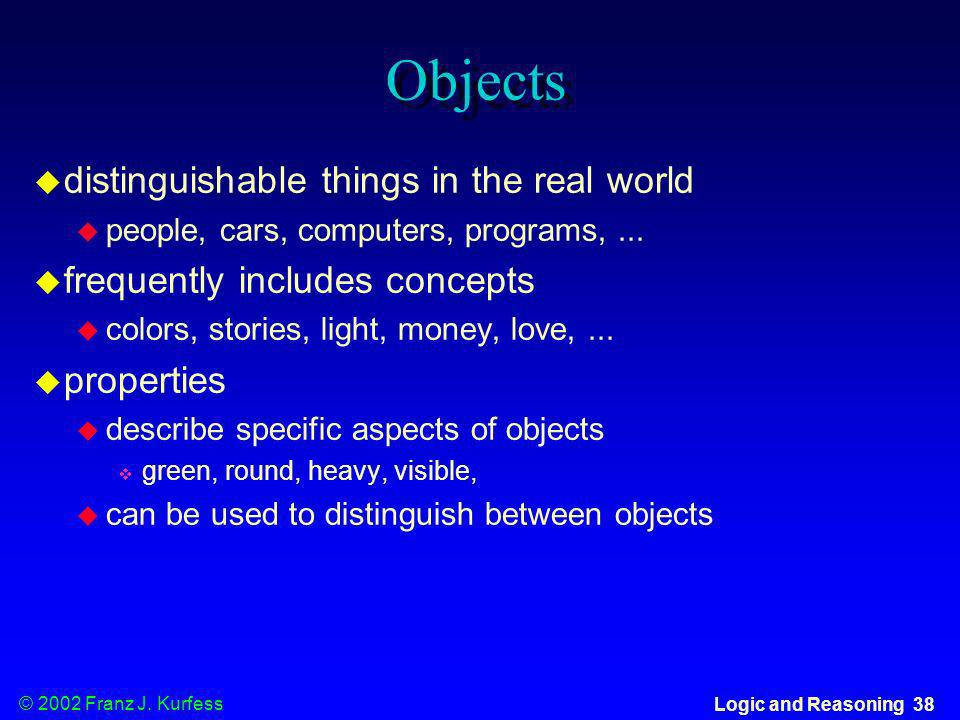 Objects distinguishable things in the real world