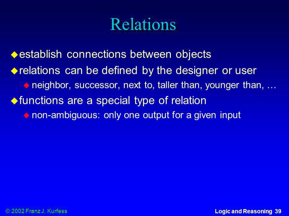 Relations establish connections between objects