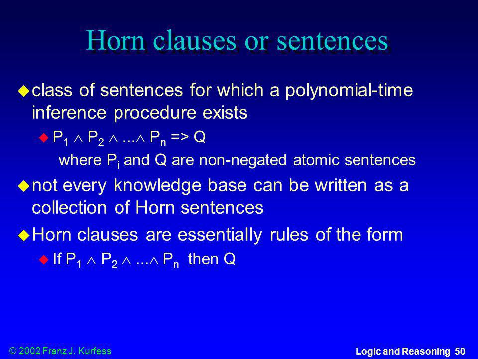 Horn clauses or sentences