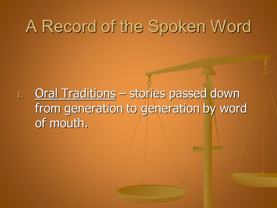 A Record of the Spoken Word
