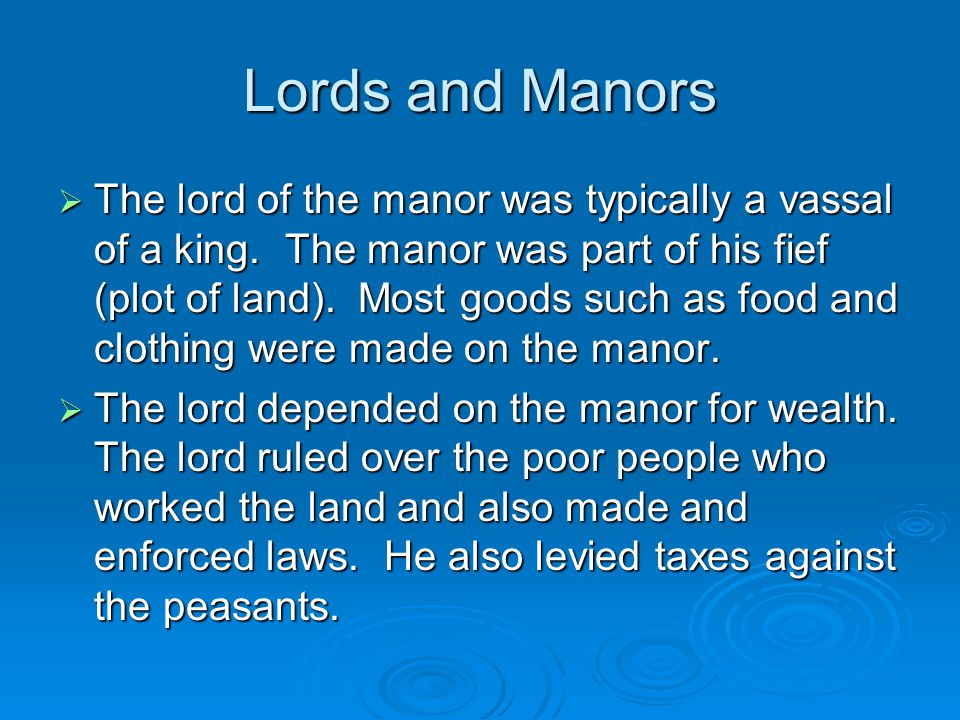 Lords and Manors