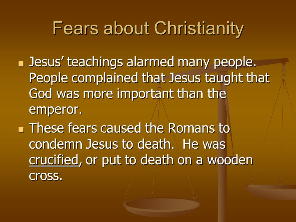 Fears about Christianity