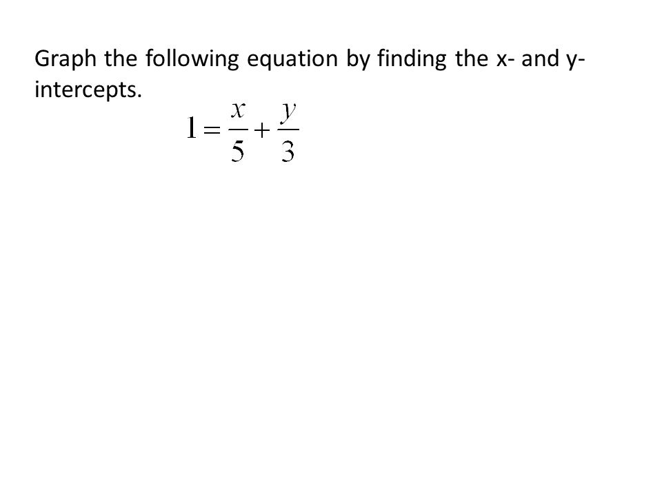 Graph the following equation by finding the x- and y-intercepts.