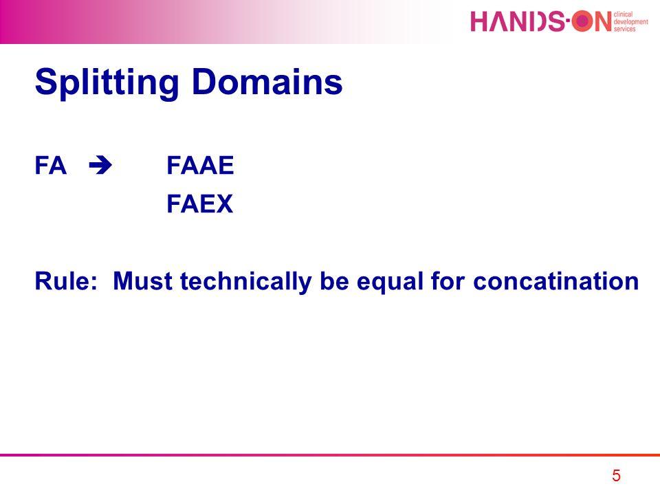 Splitting Domains FA  FAAE FAEX