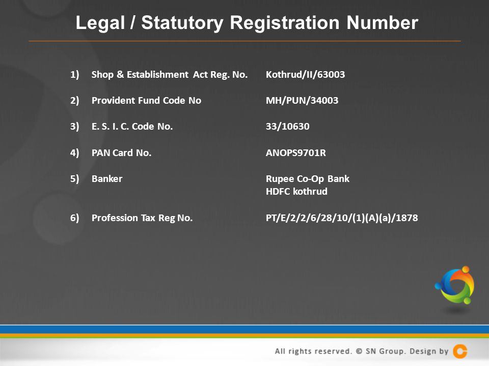 Legal / Statutory Registration Number