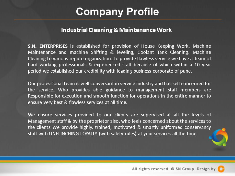 Company Profile Industrial Cleaning & Maintenance Work