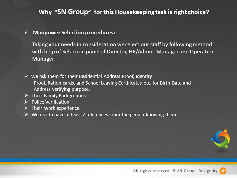 Why SN Group for this Housekeeping task is right choice