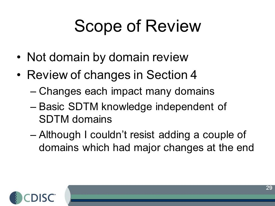 Scope of Review Not domain by domain review