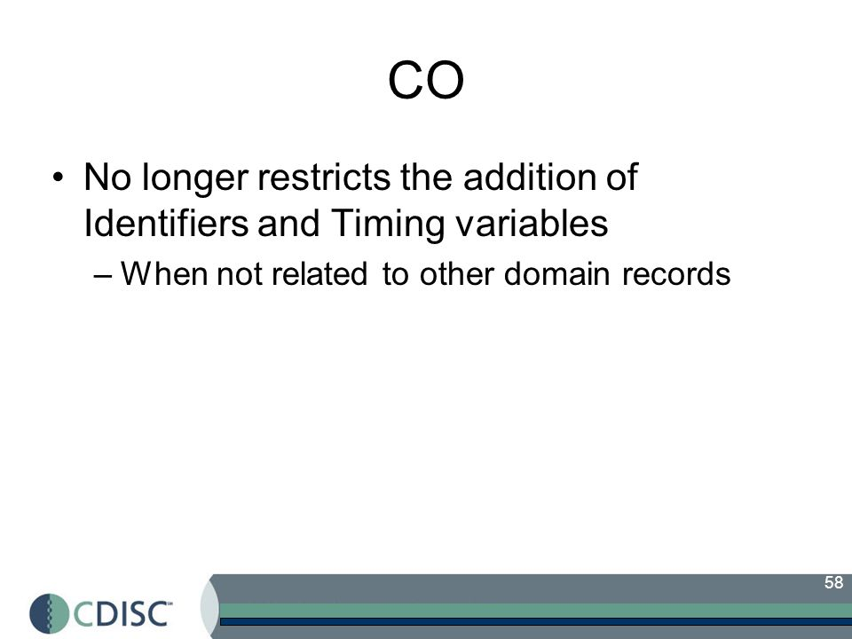 CO No longer restricts the addition of Identifiers and Timing variables.