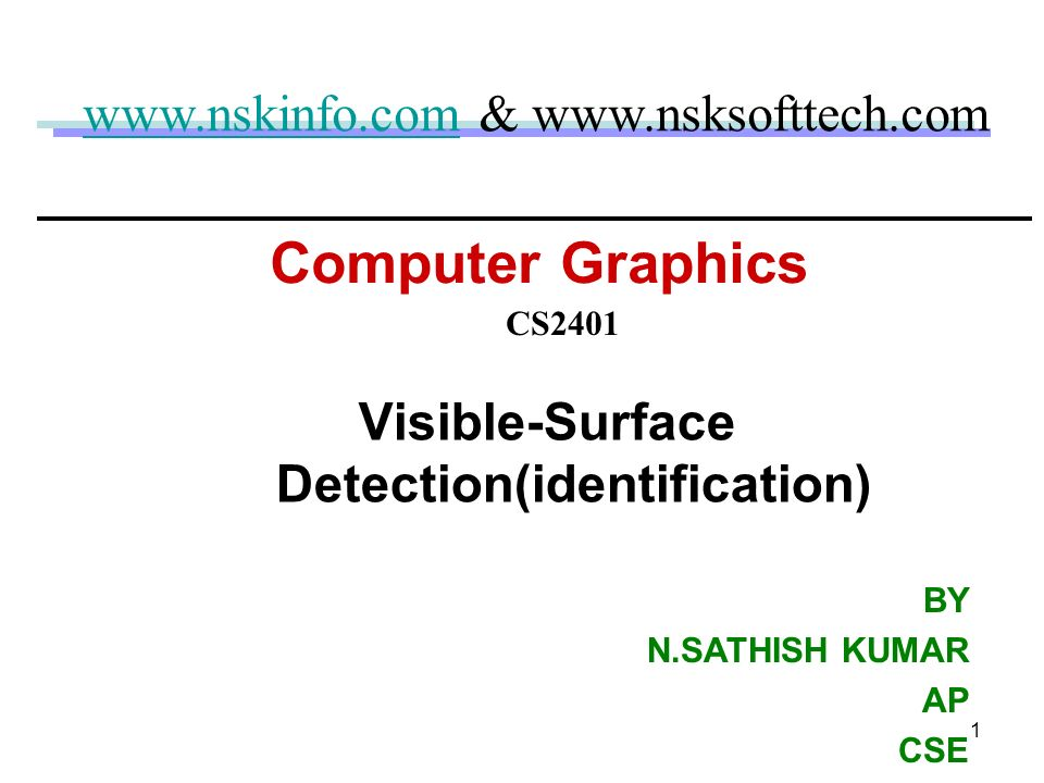 Visible-Surface Detection(identification)