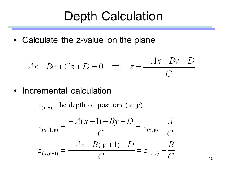 Depth Calculation Calculate the z-value on the plane
