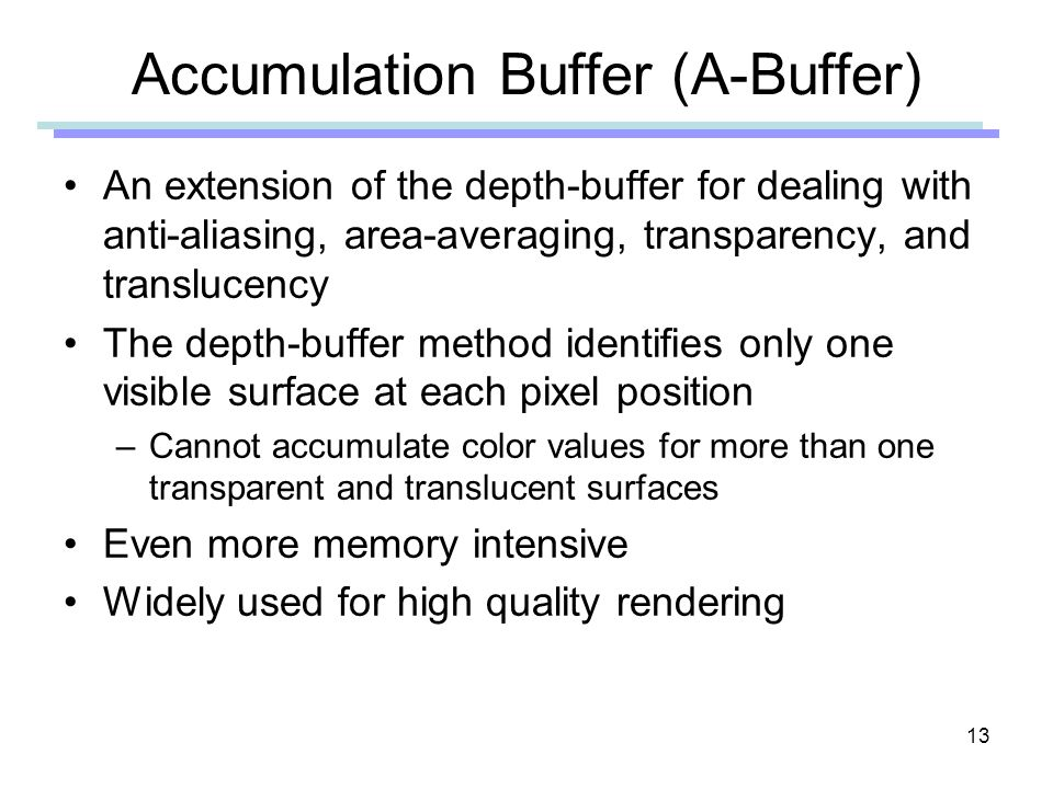 Accumulation Buffer (A-Buffer)