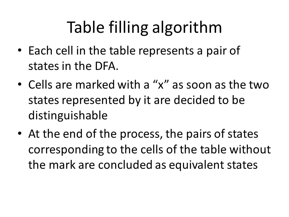 Table filling algorithm