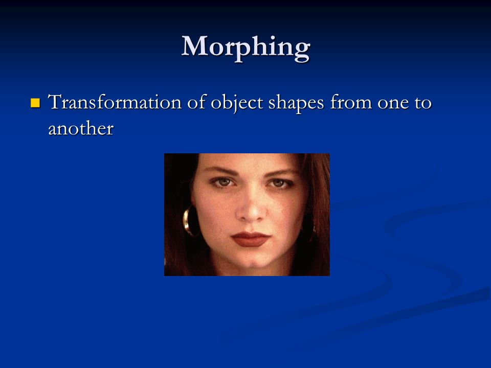Morphing Transformation of object shapes from one to another