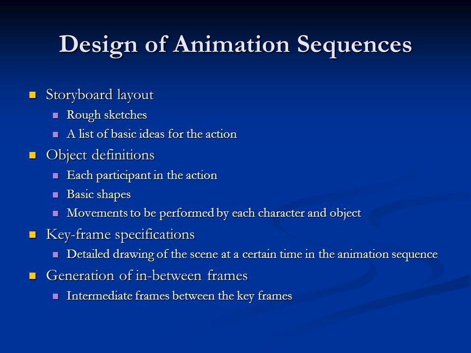 Design of Animation Sequences