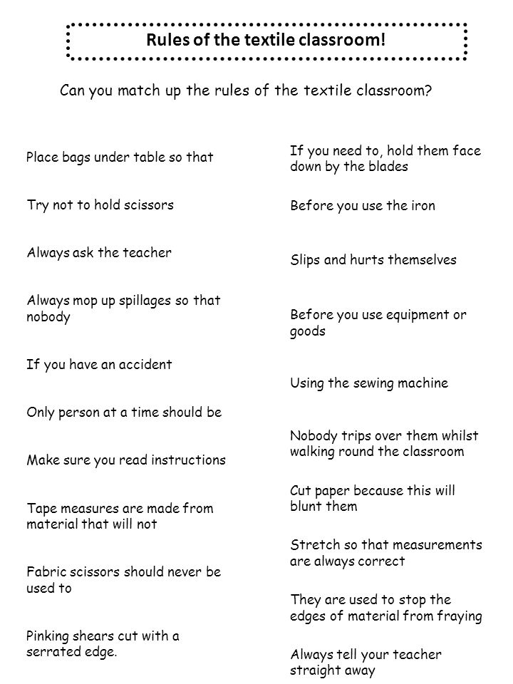 Rules of the textile classroom!