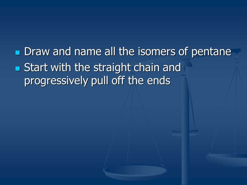 Draw and name all the isomers of pentane