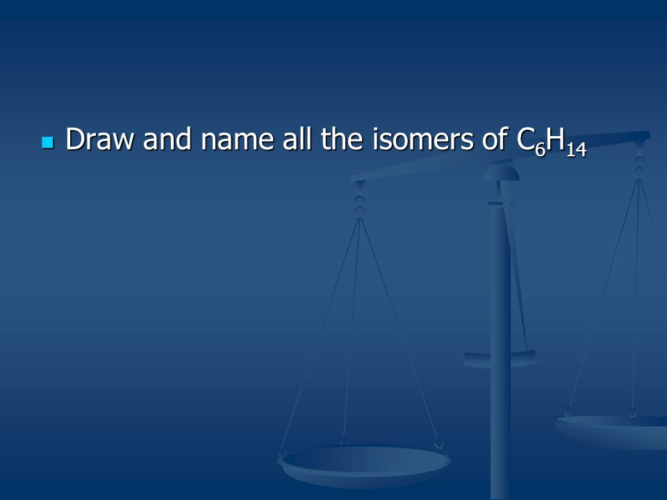 Draw and name all the isomers of C6H14