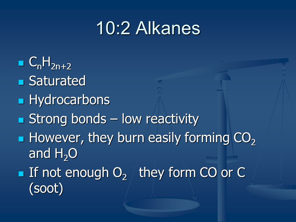 10:2 Alkanes CnH2n+2 Saturated Hydrocarbons