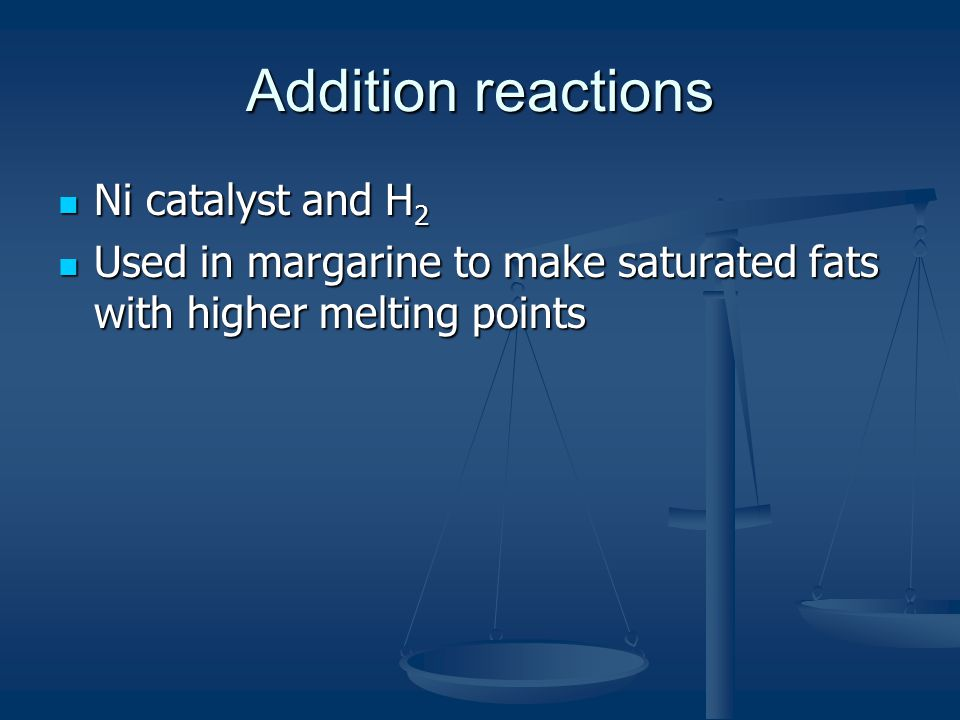 Addition reactions Ni catalyst and H2