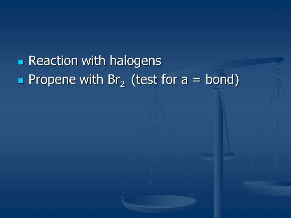 Reaction with halogens