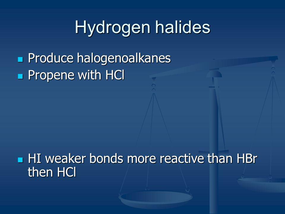 Hydrogen halides Produce halogenoalkanes Propene with HCl