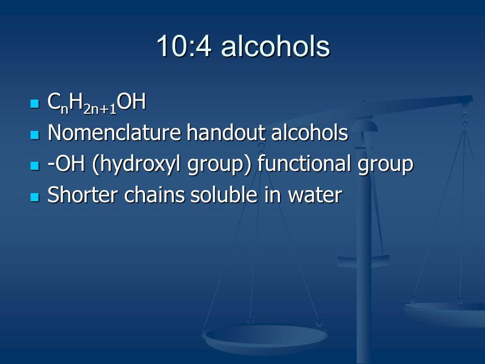 10:4 alcohols CnH2n+1OH Nomenclature handout alcohols