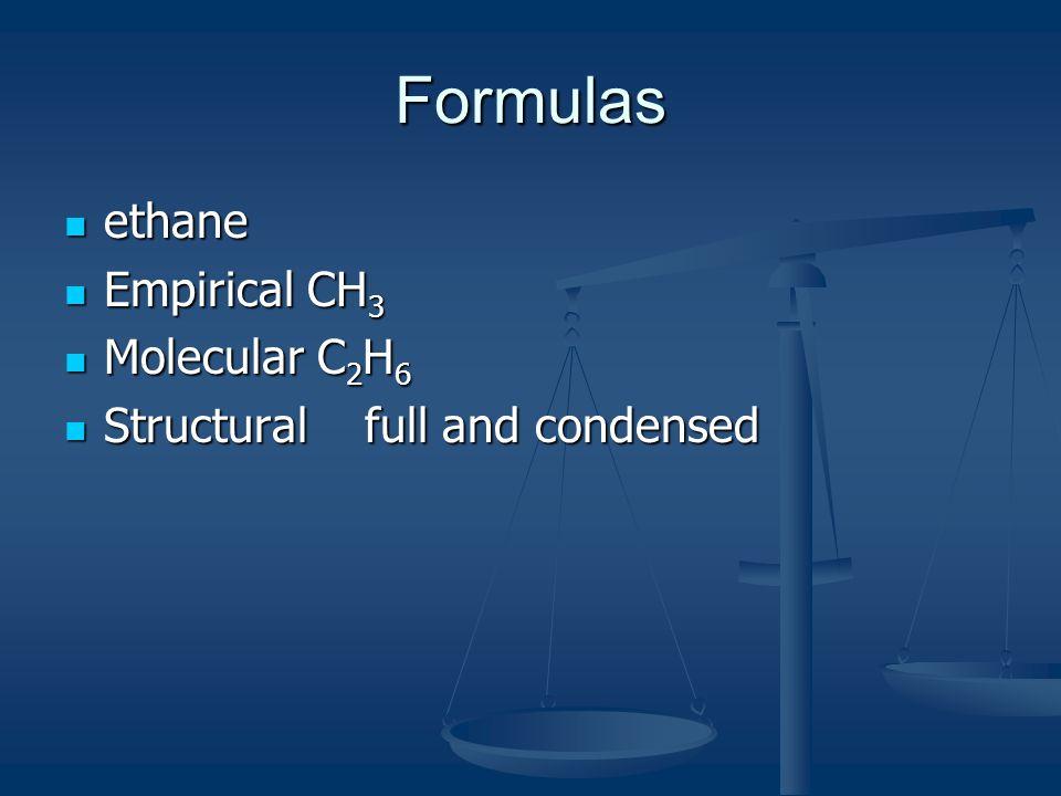 Formulas ethane Empirical CH3 Molecular C2H6