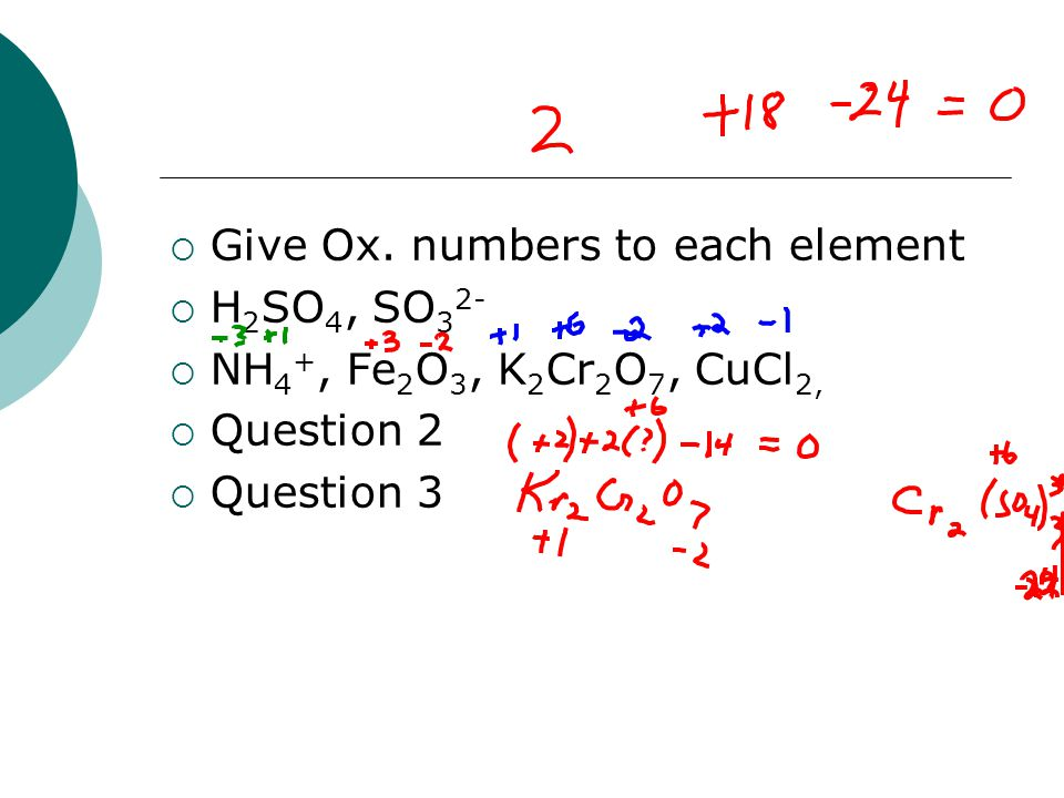 Give Ox. numbers to each element