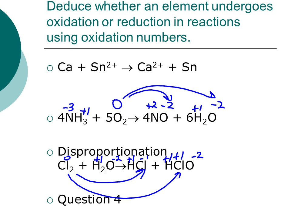 Deduce whether an element undergoes oxidation or reduction in reactions using oxidation numbers.