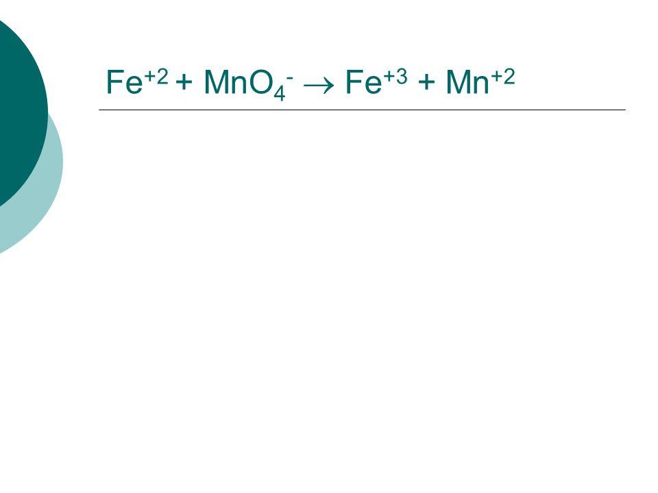 Fe+2 + MnO4-  Fe+3 + Mn+2