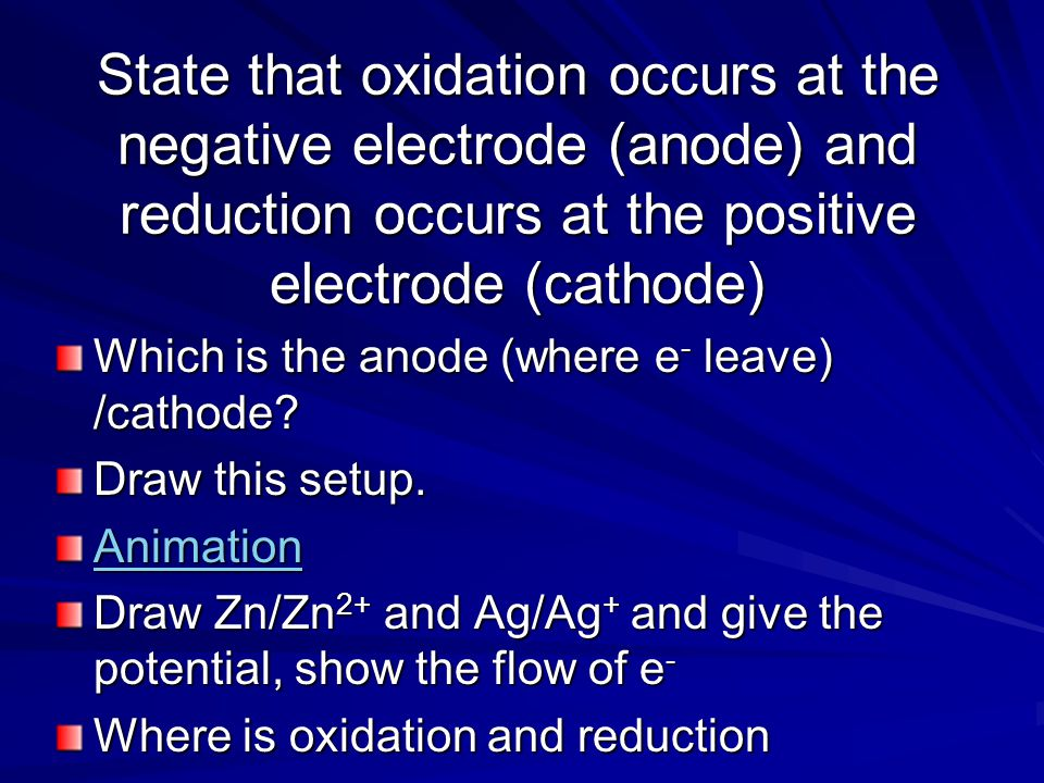 State that oxidation occurs at the negative electrode (anode) and reduction occurs at the positive electrode (cathode)