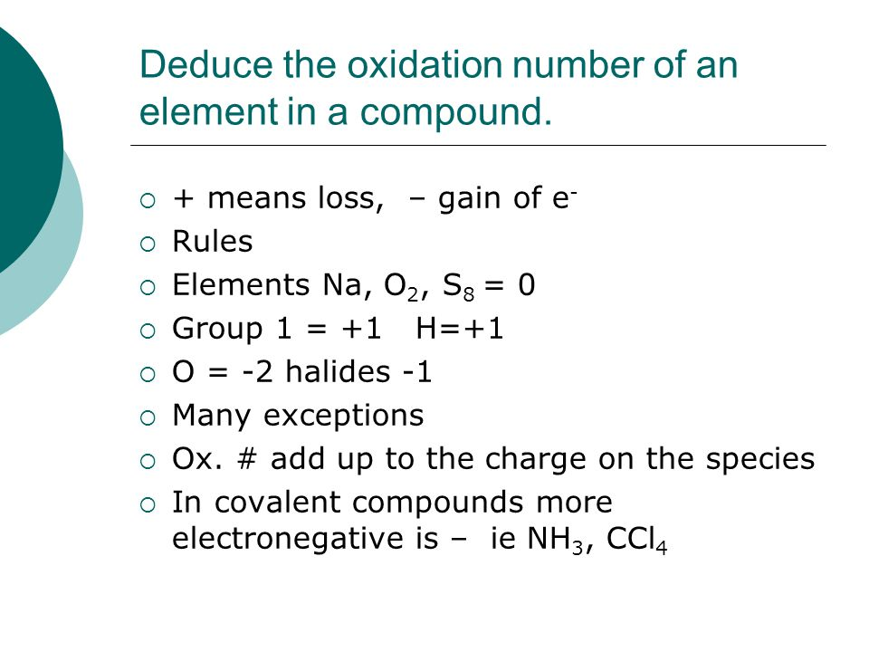 Deduce the oxidation number of an element in a compound.