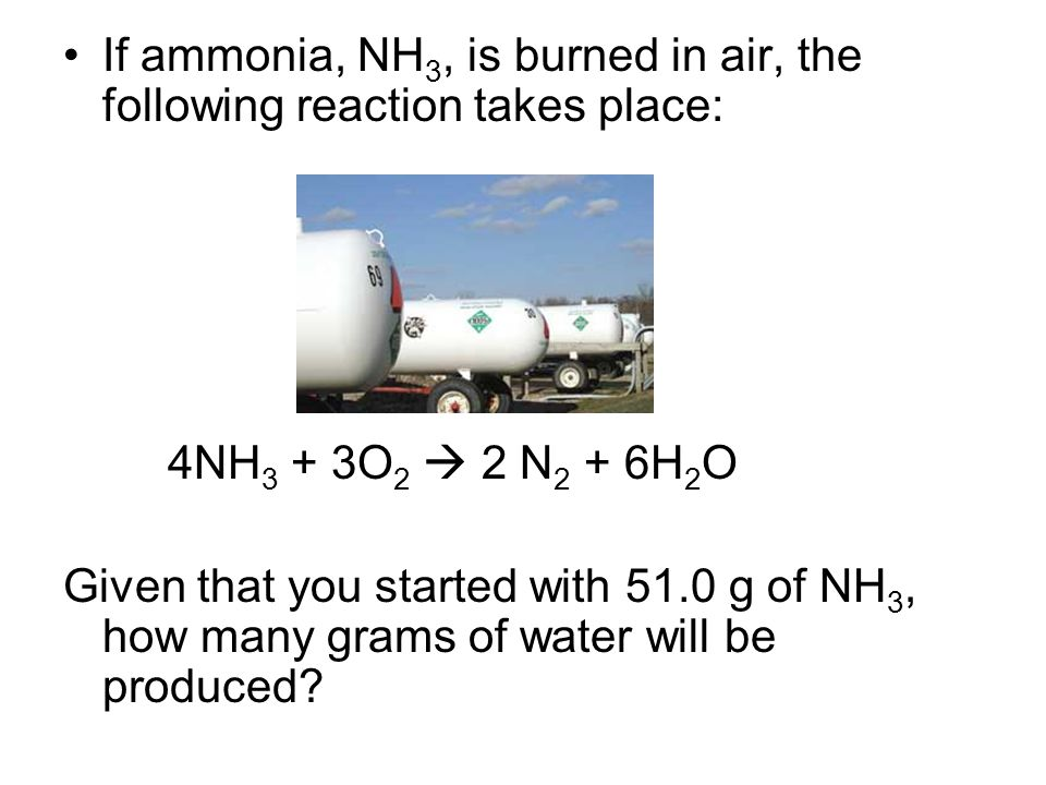 If ammonia, NH3, is burned in air, the following reaction takes place: