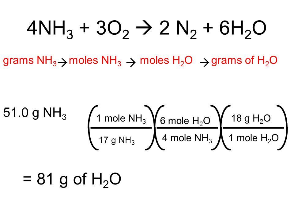 4NH3 + 3O2  2 N2 + 6H2O = 81 g of H2O 51.0 g NH3   