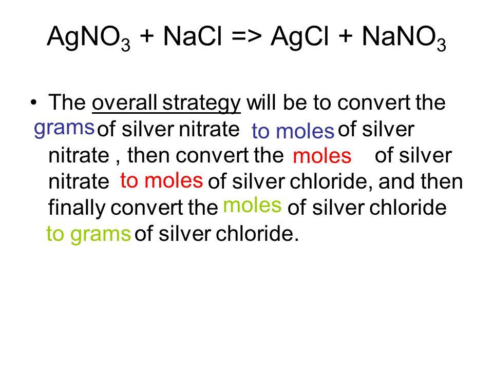 AgNO3 + NaCl => AgCl + NaNO3