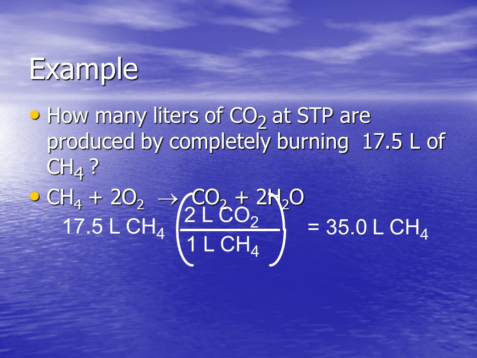 Example How many liters of CO2 at STP are produced by completely burning 17.5 L of CH4 CH4 + 2O2 ® CO2 + 2H2O.