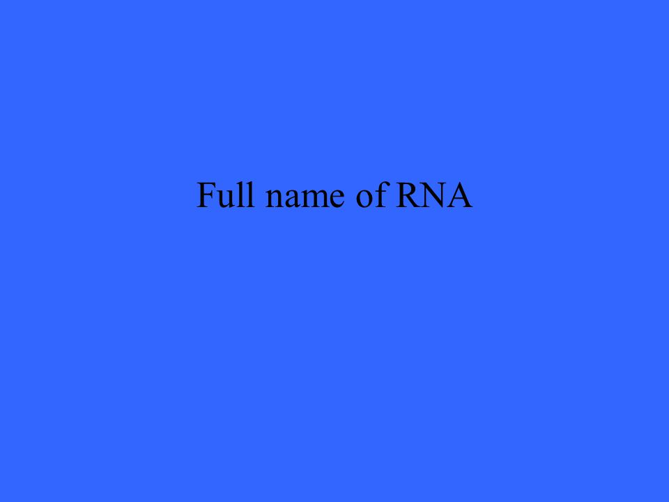 Full name of RNA