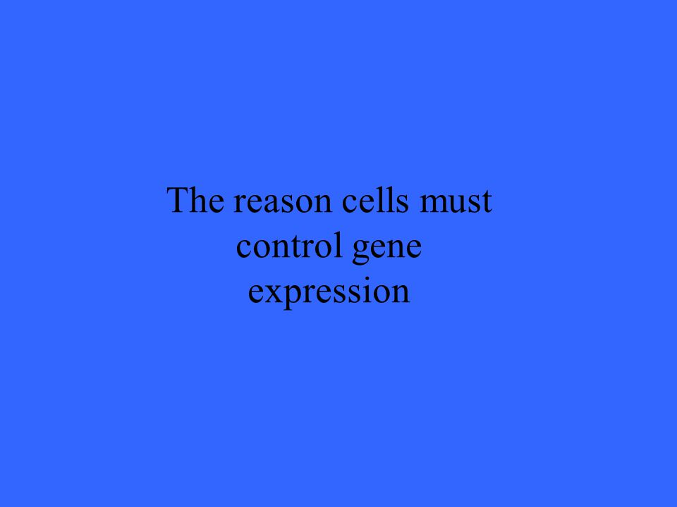 The reason cells must control gene expression