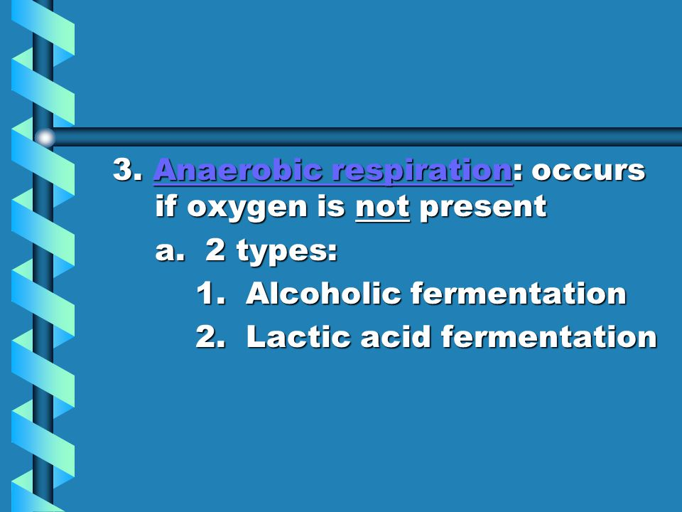 3. Anaerobic respiration: occurs if oxygen is not present